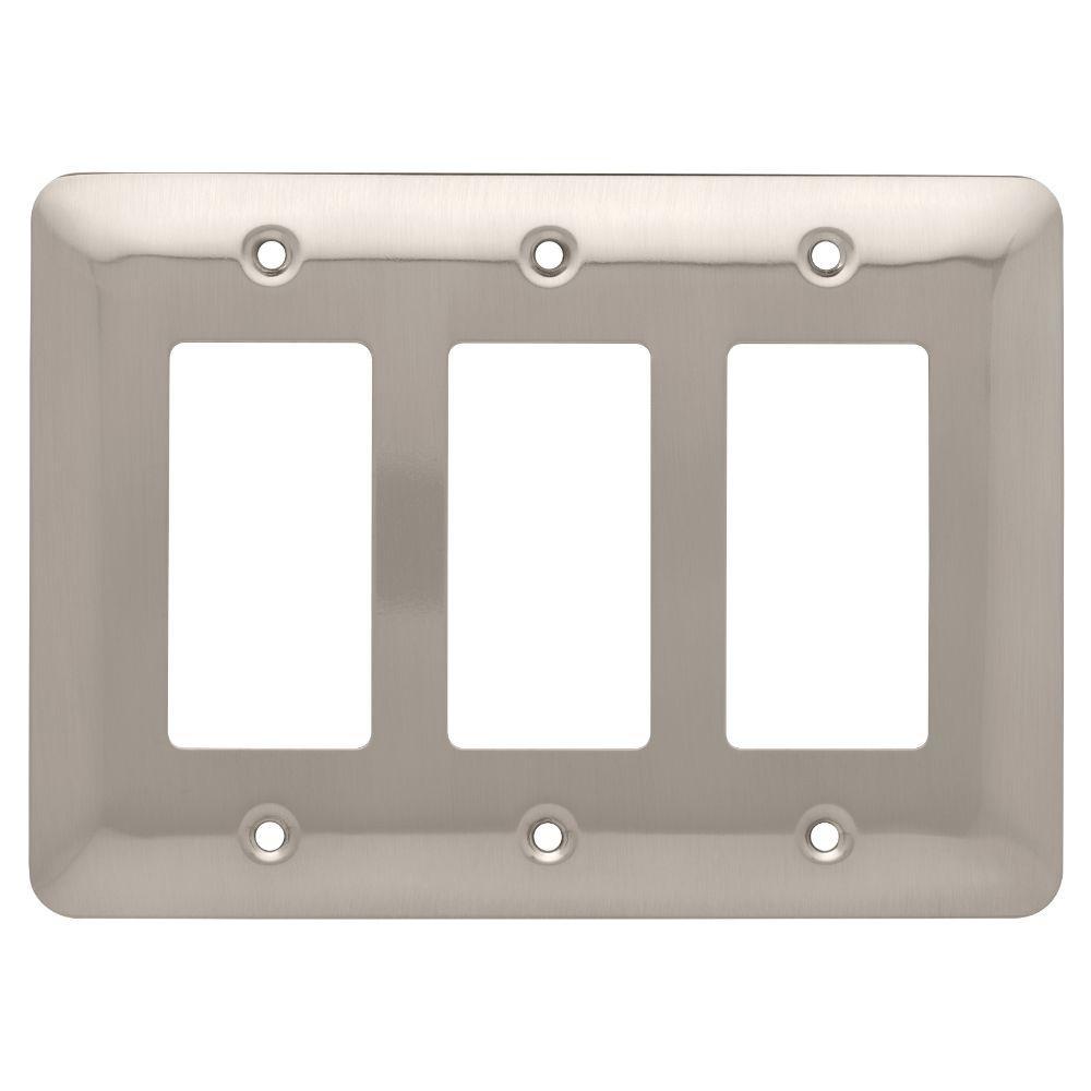Stamped Round Decorative Triple Rocker Switch Plate, Satin Nickel