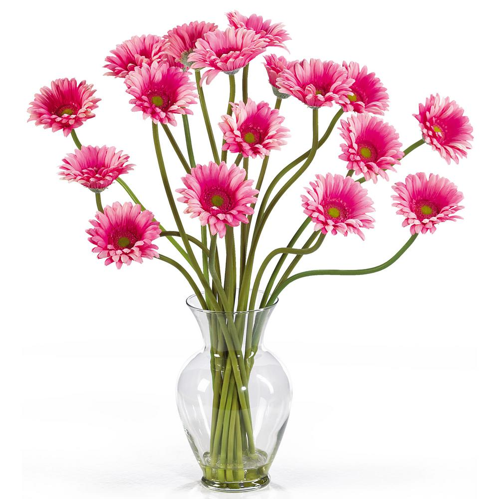 Nearly Natural 21 in. Gerber Daisy Liquid Illusion Silk Flower Arrangement in Pink Take a look at this Gerber Daisy silk arrangement. Fun, excitement, and color only begin to describe its beauty. Standing 21 in. tall this exciting piece features eighteen stems of Gerber Daisy's set in a classic glass vase with artificial water. If you're looking to brighten up your home or office decor, well. You've just found a winner. Available in five gorgeous shades: beauty, orange, pink, red, yellow and mixed.