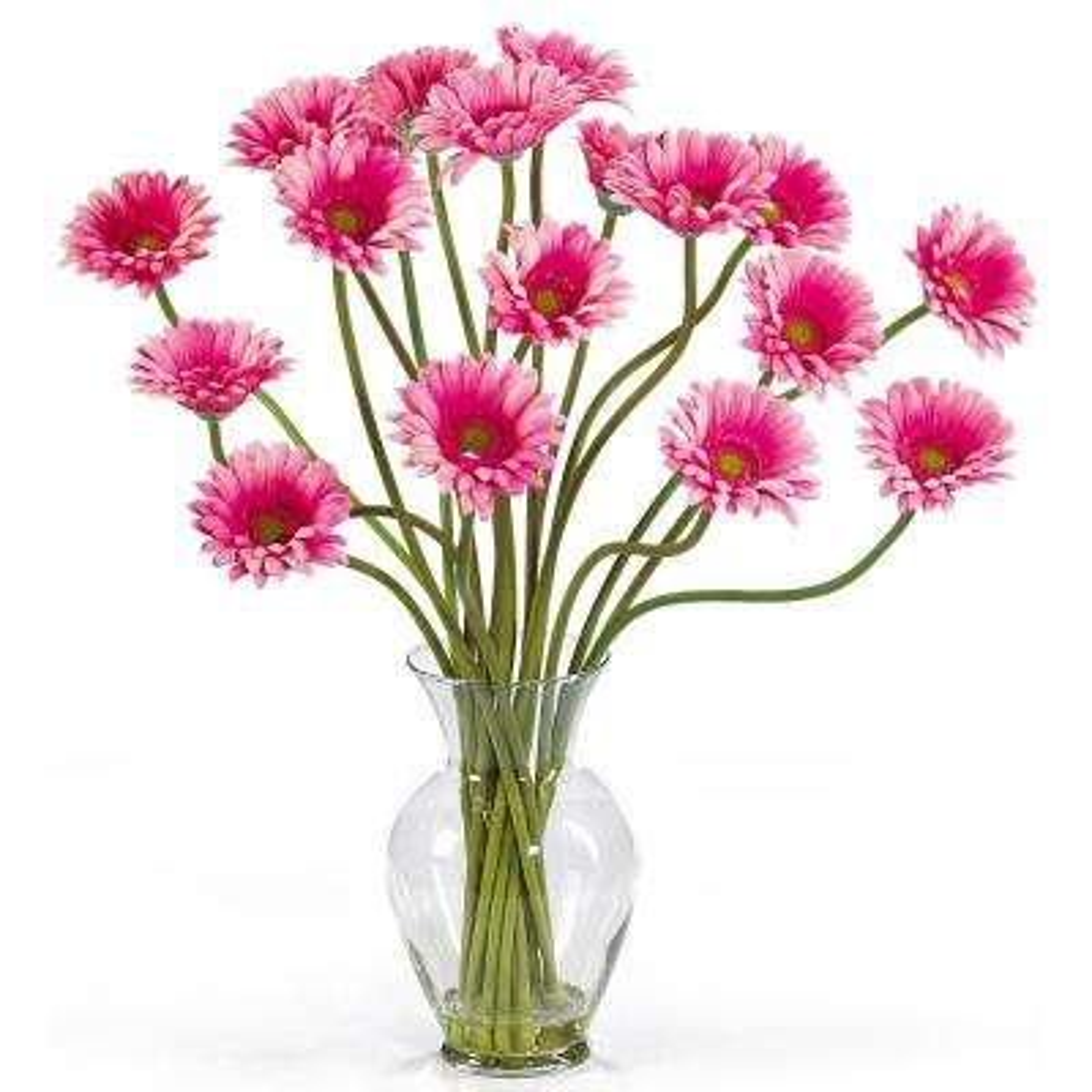 21 in. Gerber Daisy Liquid Illusion Silk Flower Arrangement in Pink