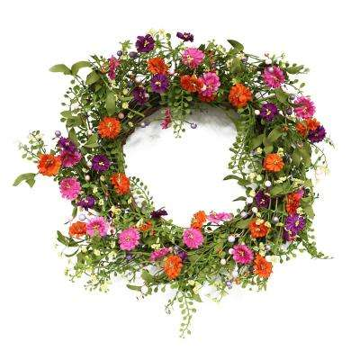 22 in. Wreath with Spring Daisy's