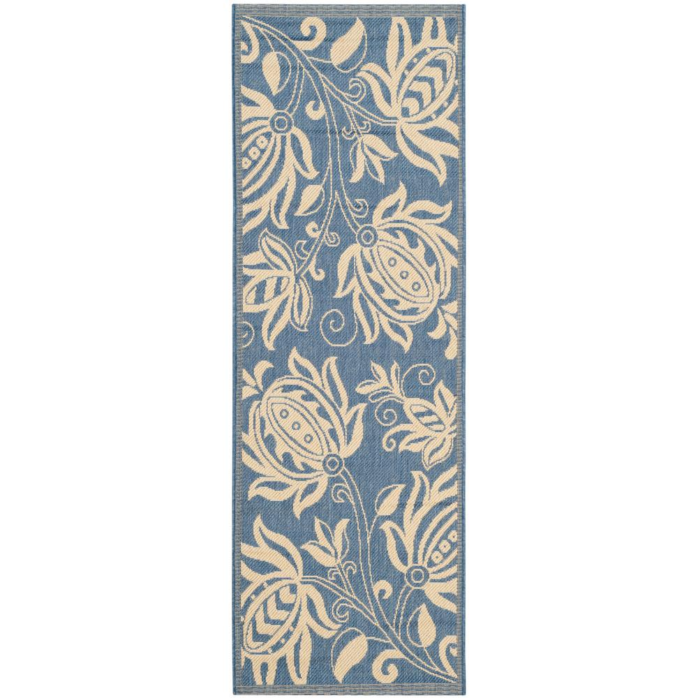 Safavieh Courtyard Blue Natural 2 Ft X 14 Indoor Outdoor Runner