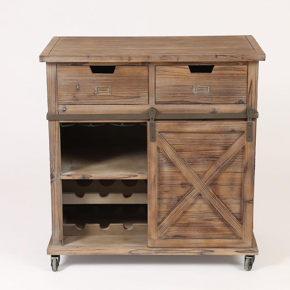 14-Bottle Rustic Wine Cabinet