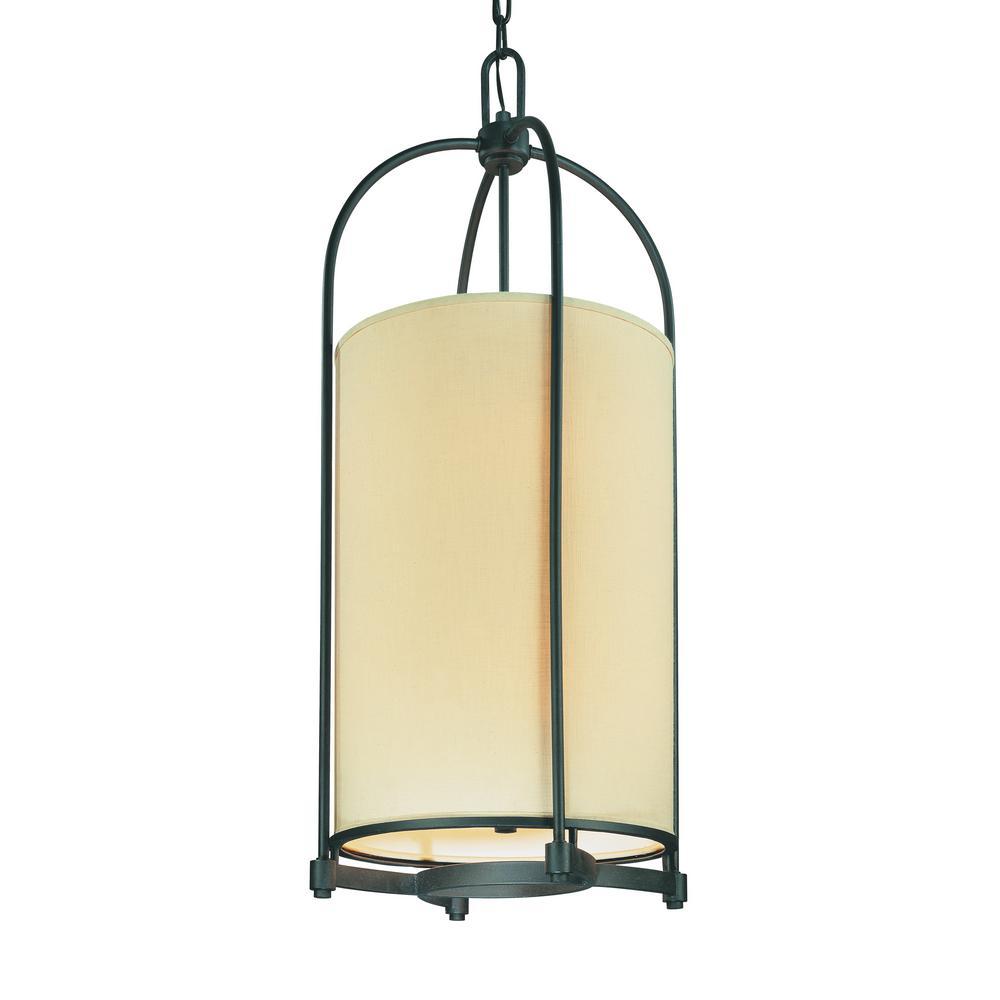 Redmond 8-Light Federal Bronze Chandelier with Beige/Bisque Fabric Shade