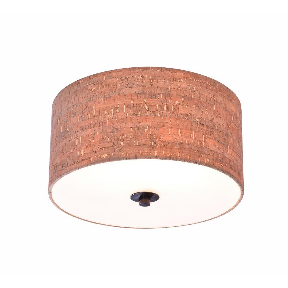 Bulletin 2-Light Oil Rubbed Bronze Flush Mount Light