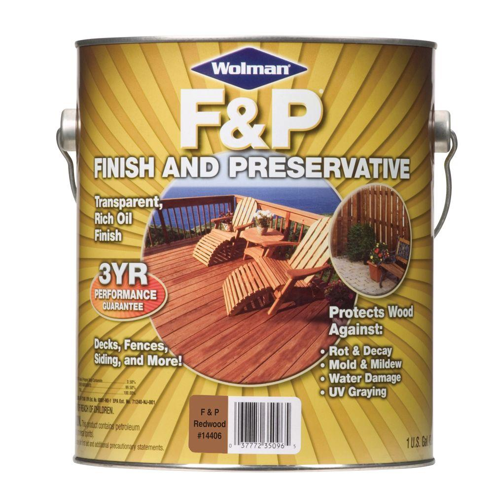 F&P Finish & Preservative 1-gal. Oil-Based Redwood Deep-Penetrating Transparent Exterior Wood Stain-DISCONTINUED