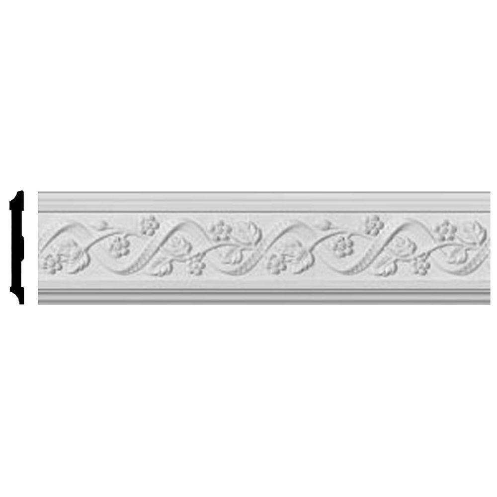 Ekena Millwork 3/4 in. x 4-1/4 in. x 96 in. Polyurethane Floral Chair Rail Moulding