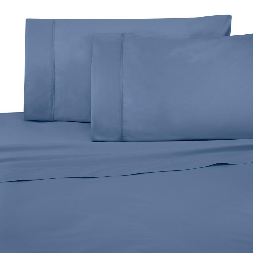 Brushed Organic 4-Piece Blue King Sheet Set