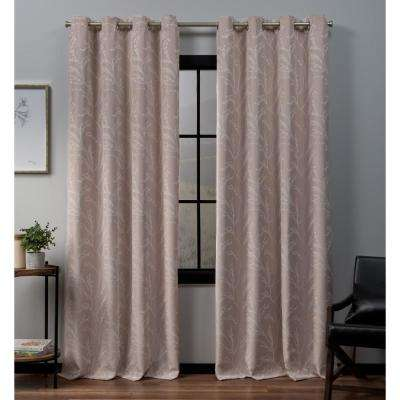 Kilberry 52 in. W x 96 in. L Woven Blackout Grommet Top Curtain Panel in Rose Blush (2 Panels)