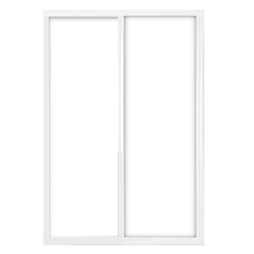 60 in. x 81 in. Silhouette 1-Lite Mystique Glass White Frame
