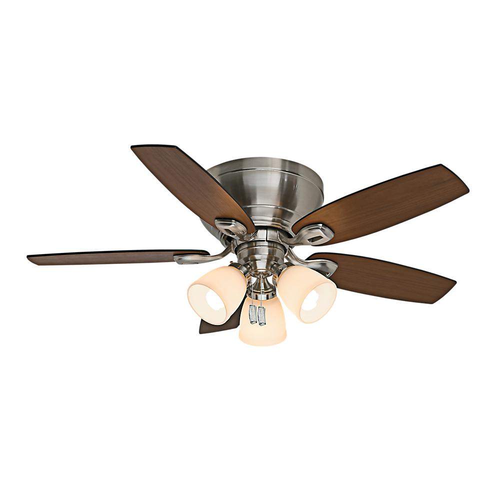 Indoor Brushed Nickel Ceiling Fan with Light Kit - Light Kit Included - Ceiling Fans - Lighting - The Home Depot