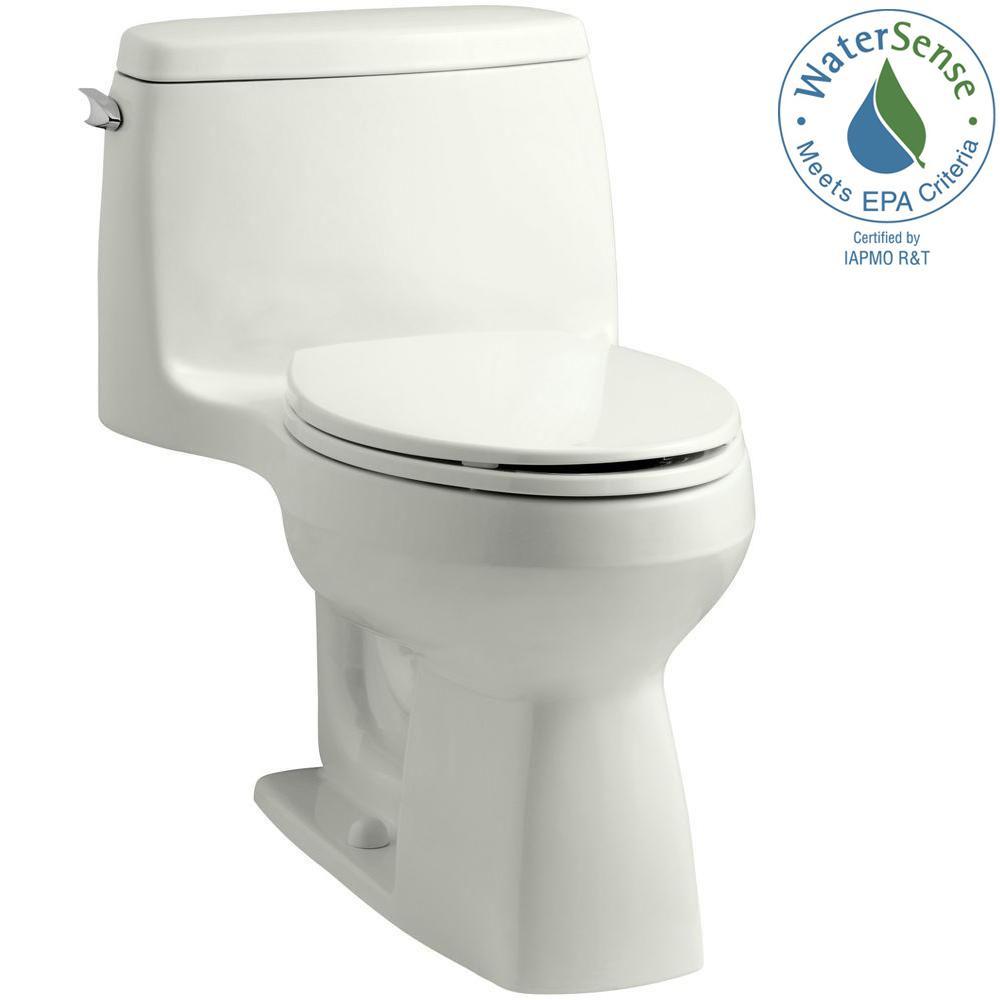 KOHLER Santa Rosa Comfort Height 1-piece 1.28 GPF Single Flush Compact Elongated Toilet with AquaPiston Flush in Dune