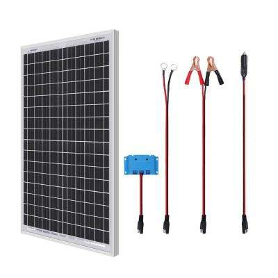 30-Watt 12-Volt Portable Monocrystalline Solar Panel Starter Kit with Solar Charge Controller SAE Connectors