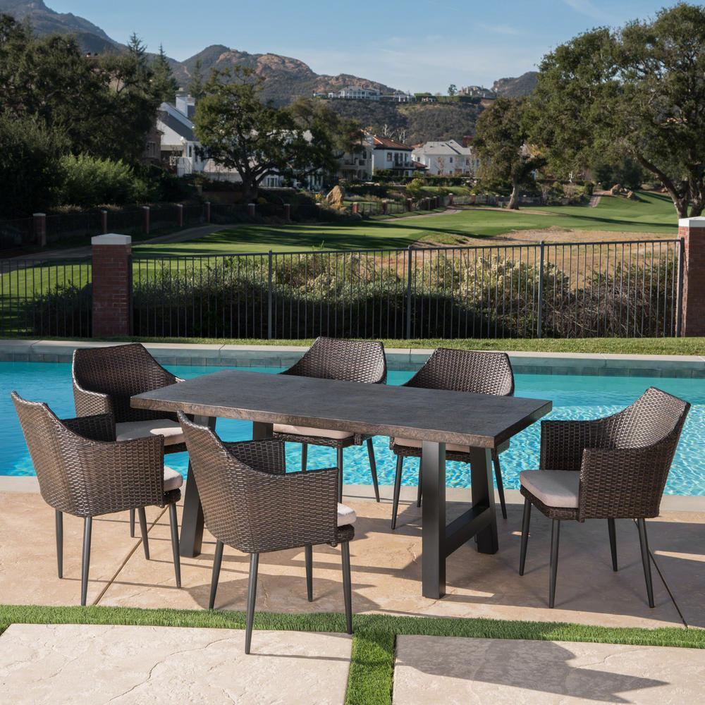 Nala Multi-Brown 7-Piece Polyethylene Wicker Outdoor Dining Set with Beige Cushions