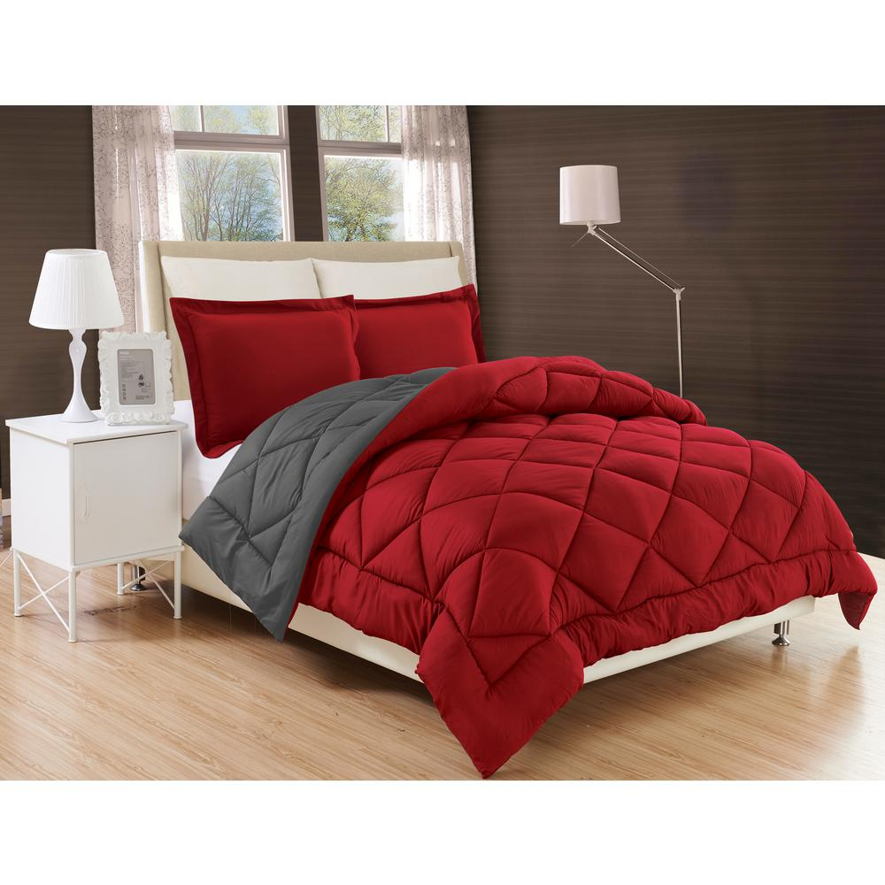Down Alternative Burgundy and Gray Reversible Full/Queen Comforter Set