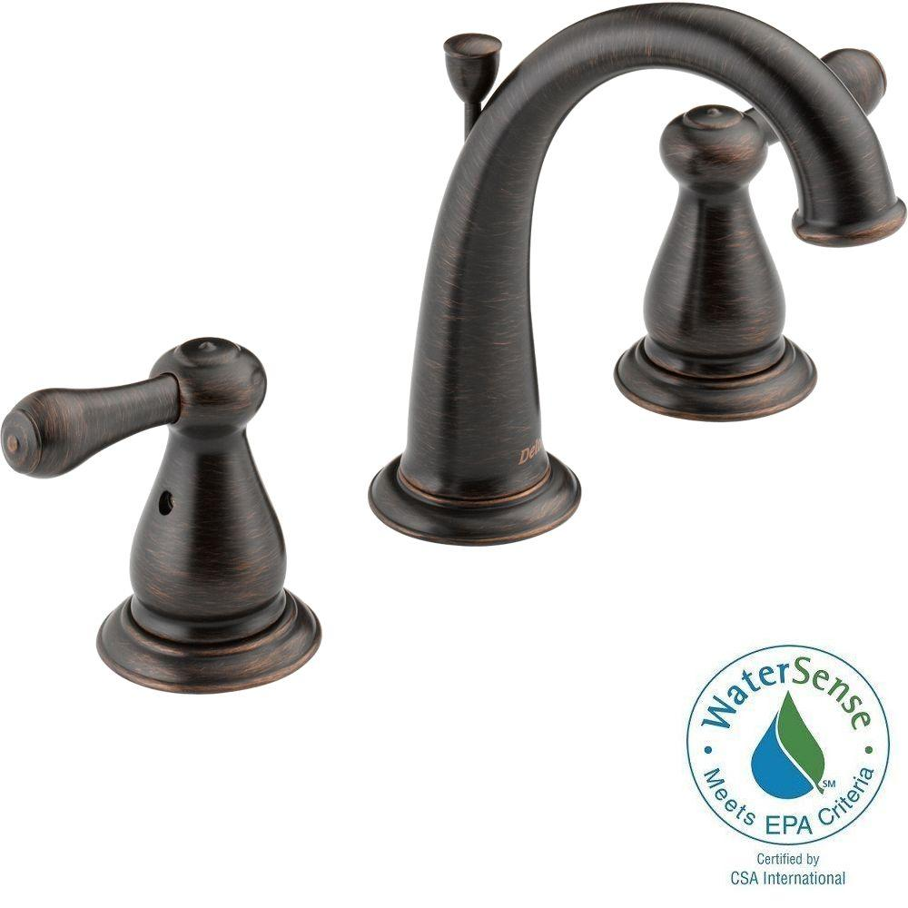 Delta Victorian 8 In Widespread 2 Handle High Arc Bathroom Faucet In Chrome 3555lf 216: Delta Leland 8 In. Widespread 2-Handle High-Arc Bathroom Faucet In Venetian Bronze-3575-RBMPU