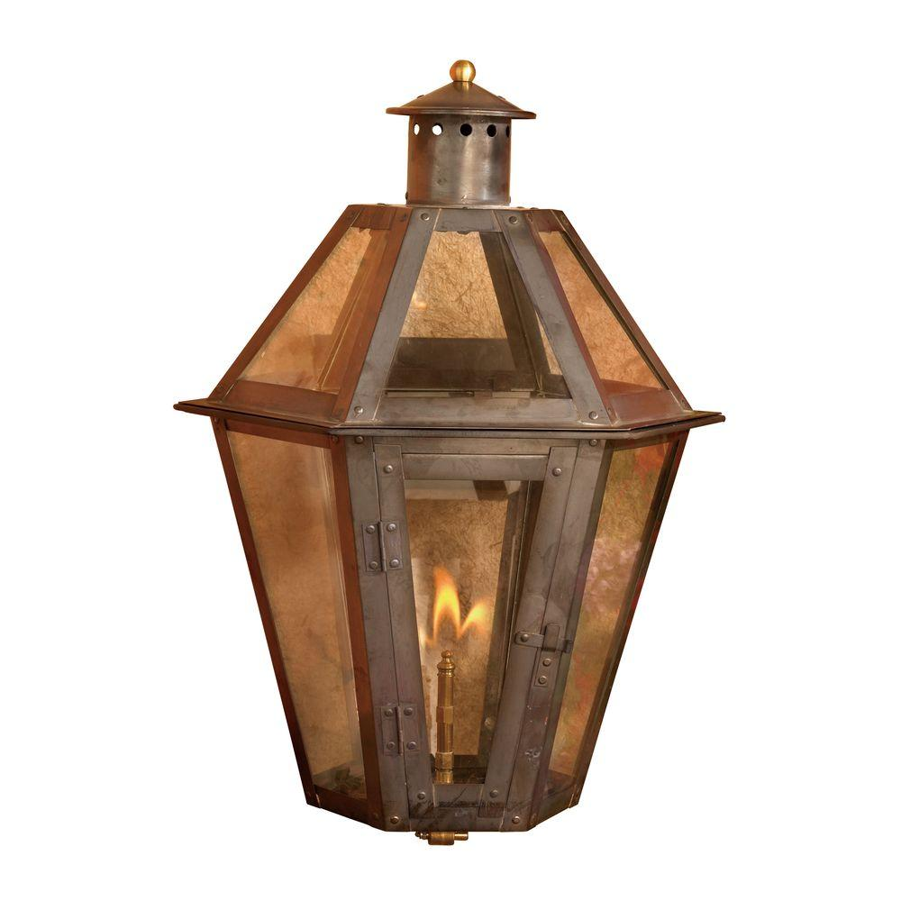 An Lighting Grand Isle 23 In Outdoor Washed Pewter Gas Wall Lantern