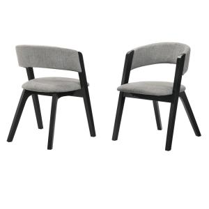 Rowan Black and Grey Mid-Century Modern Accent Fabric Dining Chair (Set of 2)