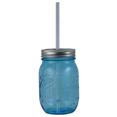 16 oz. Blue Ball Mason Sipper Drinking Jar with Authentic Heritage Reusable Acrylic Straw