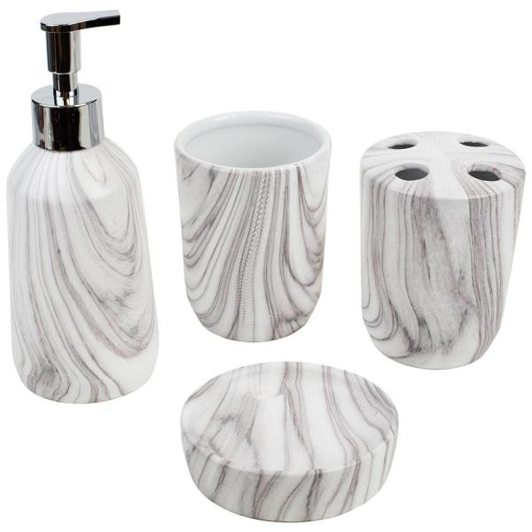 Home Basics 4 Piece Bath Accessory Set In White Ba41877 The Home Depot
