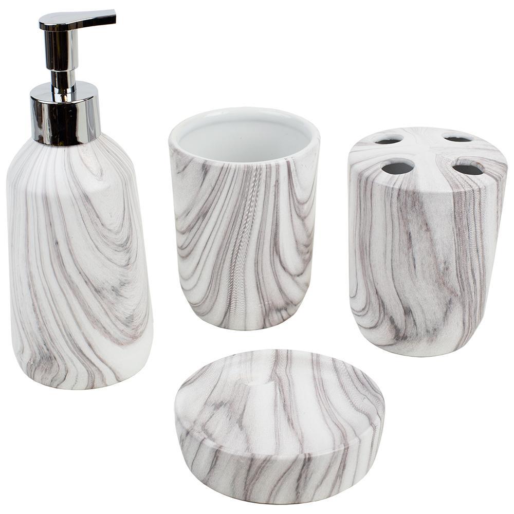 4-Piece Bath Accessory Set in White