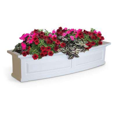 Self-Watering 4 ft. Nantucket White Plastic Window Box