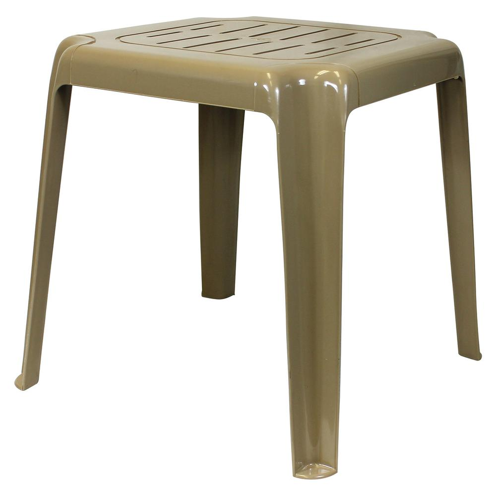 Sand Stackable Slotted Plastic Outdoor Side Table