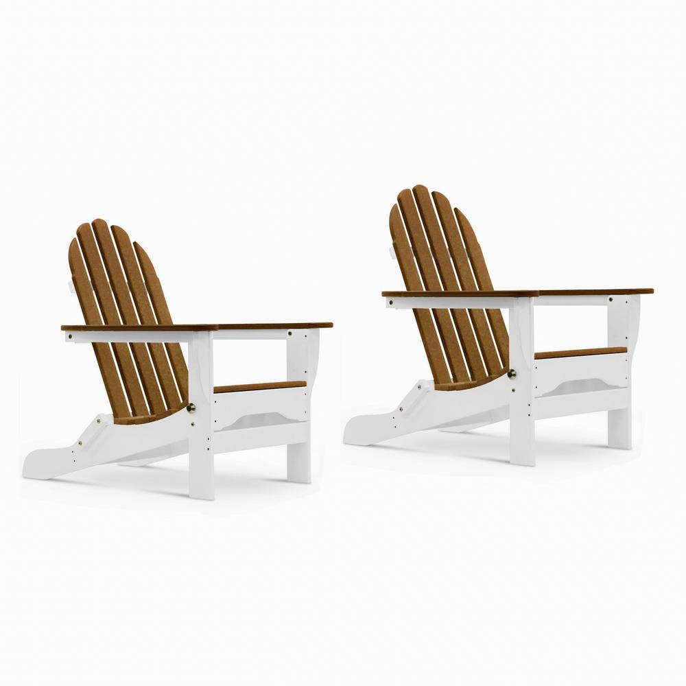 Icon White and Antique Mahogany Recycled Plastic Folding Adirondack Chair (2-Pack)