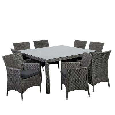 Grand New Liberty 9-Piece Wicker Outdoor Dining Set with Grey Cushions