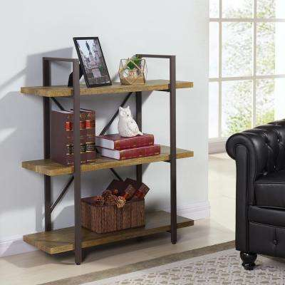 Urbanne 35.5 in. W x 40 in. H Distressed Wood Laminated MDF and Iron Three Level Rustic Free Standing Shelving Unit