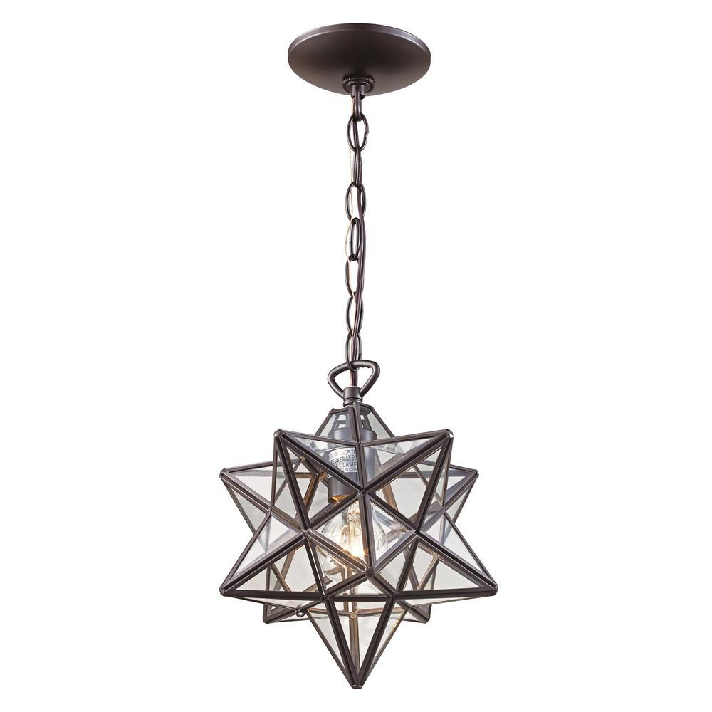 Bel Air Lighting 1-Light Bronze Star Pendant w/Clear Glass