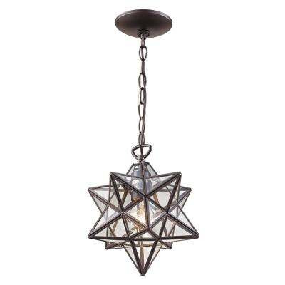 1-Light Bronze Star Pendant with Clear Glass