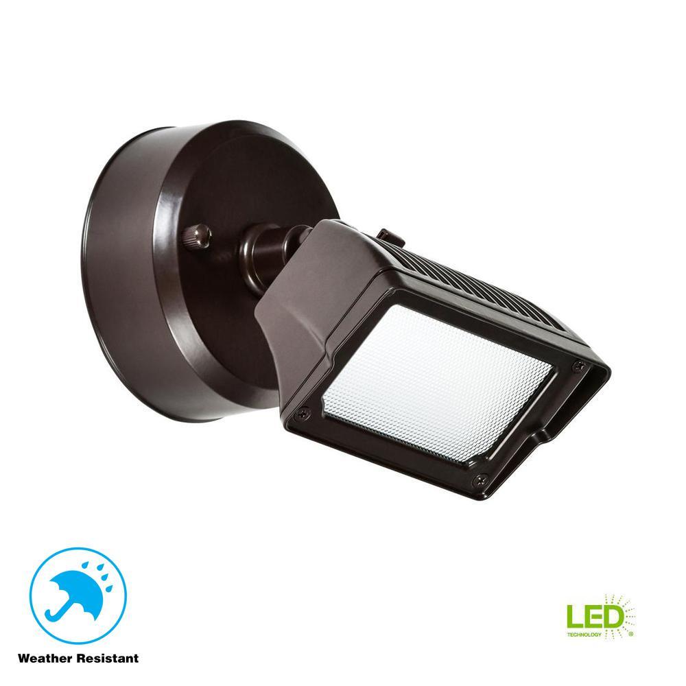 18-Watt Bronze Dusk-to-Dawn Outdoor Integrated LED Flood