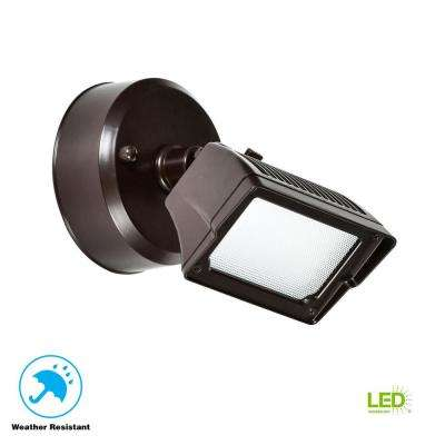 18-Watt Bronze Dusk-to-Dawn Outdoor Integrated LED Flood Light Wall/Eaves Mountable