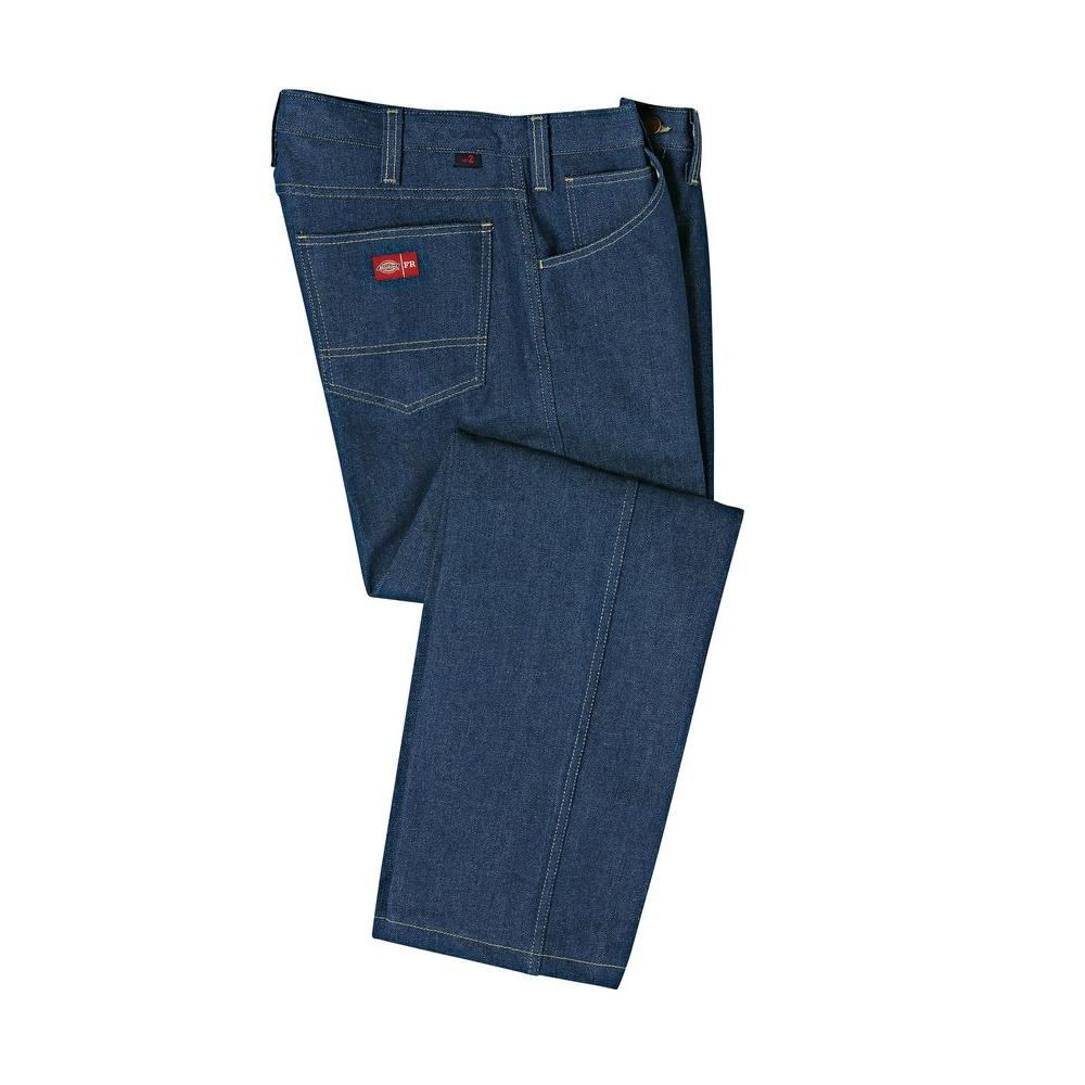 Men's 34-30 Rinsed Indigo Blue Flame Resistant Relaxed Fit 5 Pocket