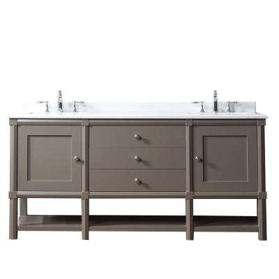 Sutton 72 in. W x 22 in D Vanity in Brook Trout with Marble Vanity Top in Yves White with White Basins