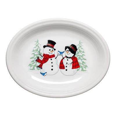 11 5/8 in. White Ceramic Snowman and Snowlady Medium Oval Platter