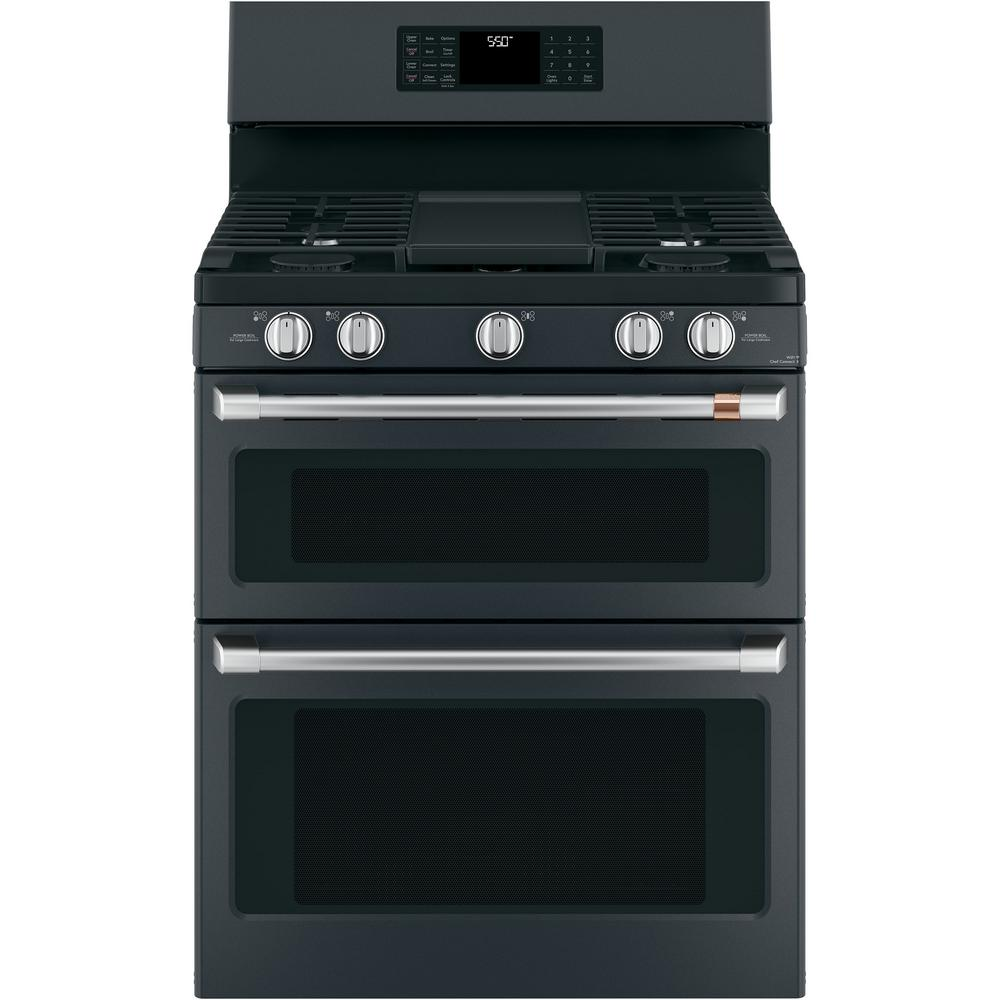 Cafe 30 in. 6.8 cu. ft. Gas Range with Self Clean Oven in Matte Black, Fingerprint Resistant