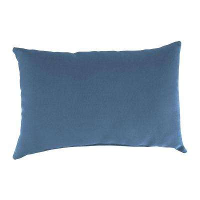 Sunbrella 9 in. x 22 in. Canvas Sapphire Blue Lumbar Outdoor Pillow