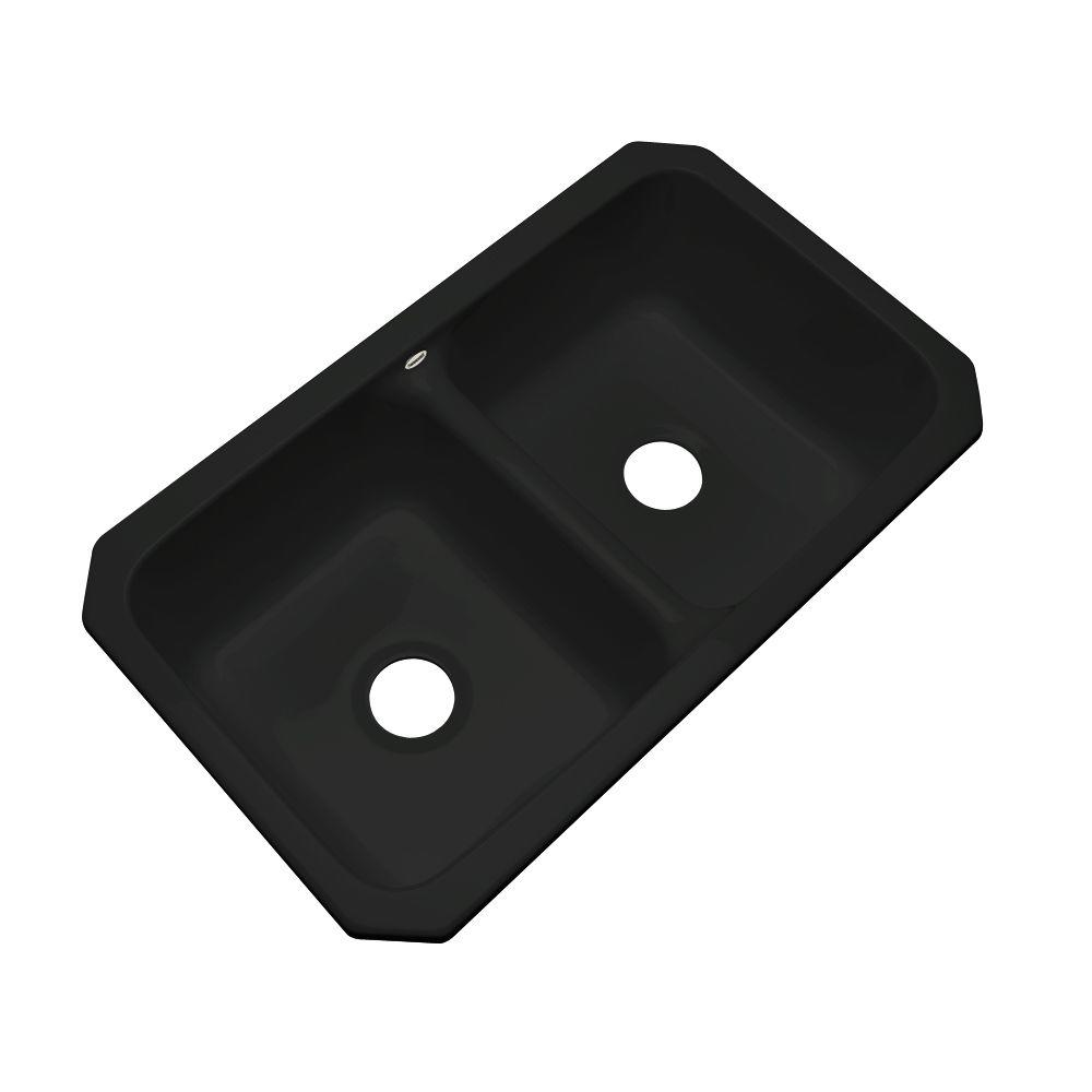 Thermocast Newport Undermount Acrylic 33 in. 0-Hole Double Bowl Kitchen Sink in Black