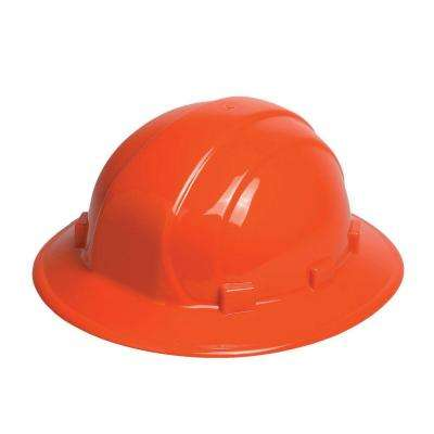 Omega II 6 Point Nylon Suspension Slide-Lock Full Brim Hard Hat in Orange