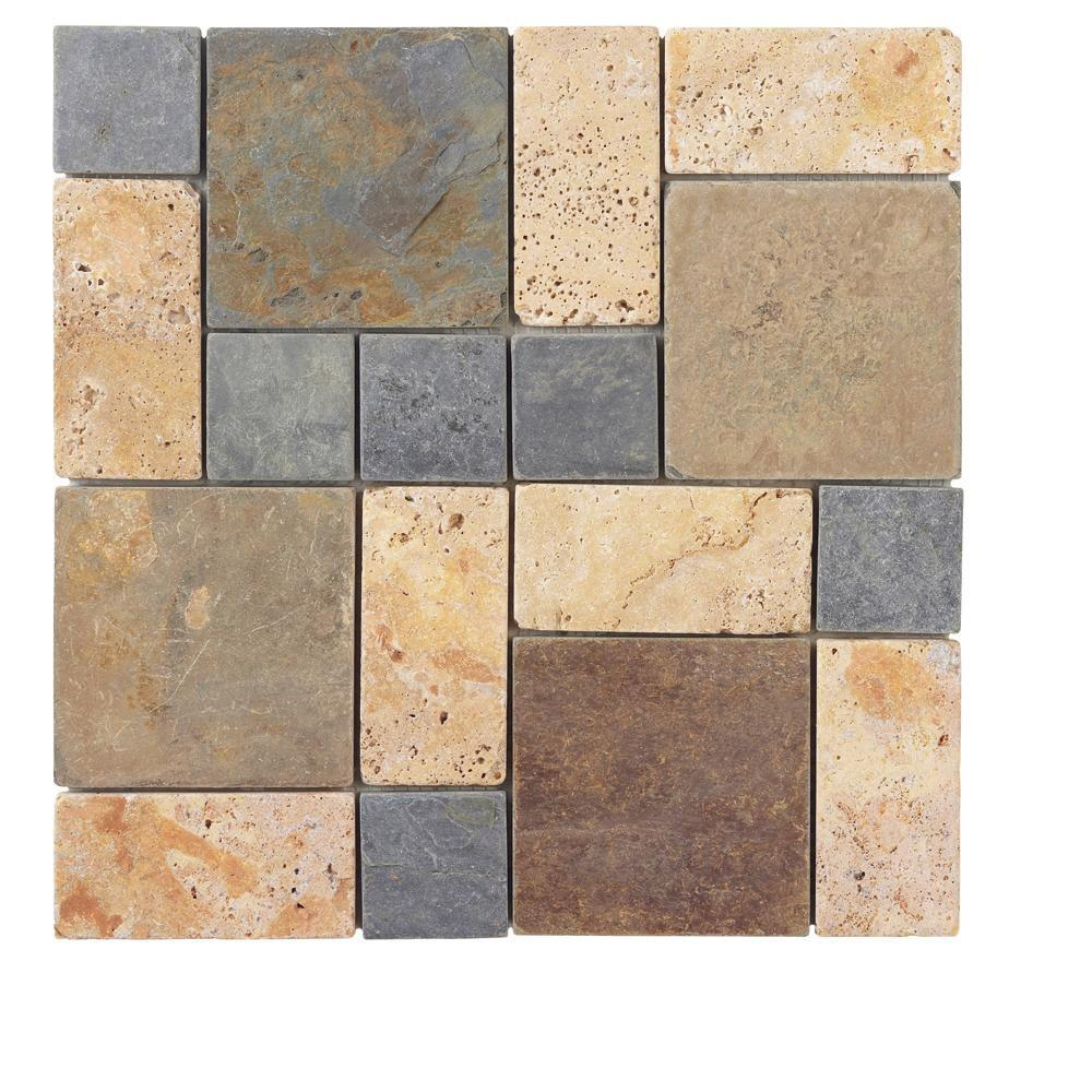 Block Medley 12 in. x 12 in. x 8 mm Slate/Travertine