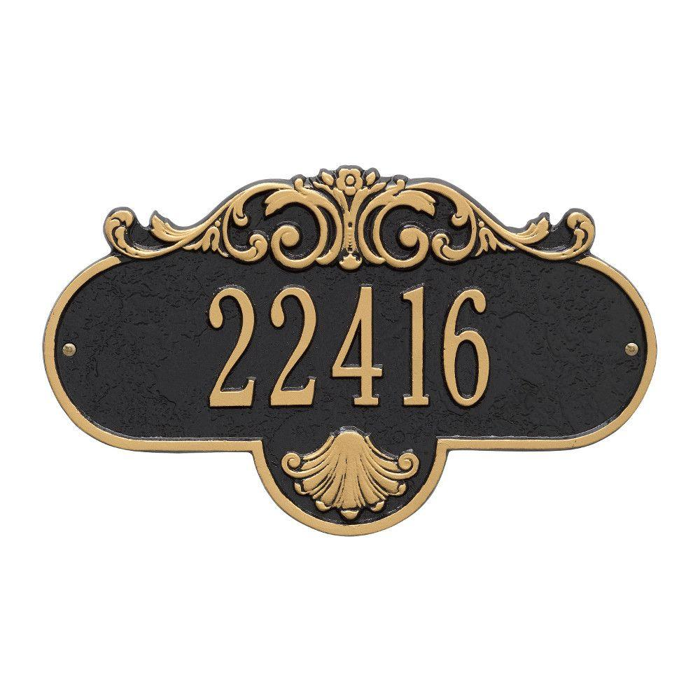 Whitehall Products Oval Rochelle Standard Black/Gold Wall 1-Line Address Plaque