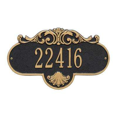 Oval Rochelle Standard Black/Gold Wall 1-Line Address Plaque