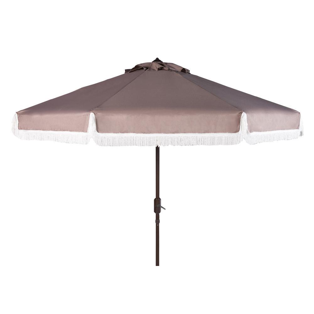 Milan 9 ft. Aluminum Market Tilt Patio Umbrella in Grey/White