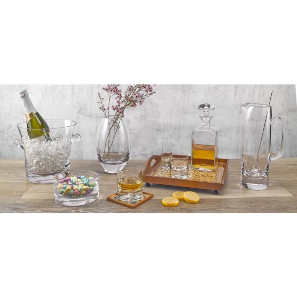 Badash Crystal European 32 Oz 7 In H Mouth Blown Glass Olivia Leaning Wine Carafe Sl831 The Home Depot