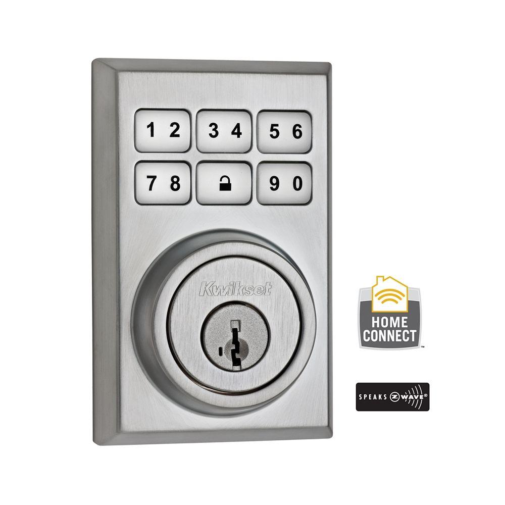 Kwikset Z Wave Smartcode 910 Contemporary Satin Chrome
