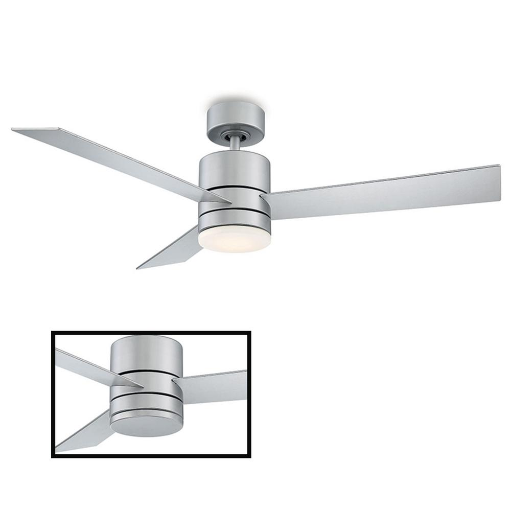 Modern Forms Axis 52 in. LED Indoor/Outdoor Titanium Silver 3-Blade Smart Ceiling Fan with 3000K Light Kit and Wall Control