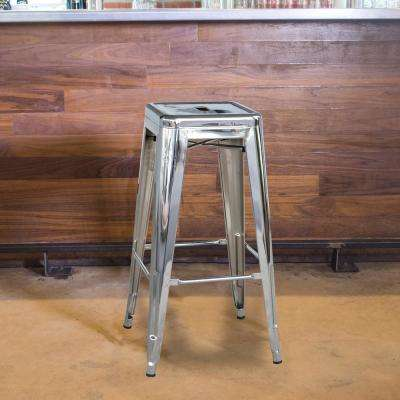 Loft Style 30 in. Stackable Metal Bar Stool in Chrome Silver