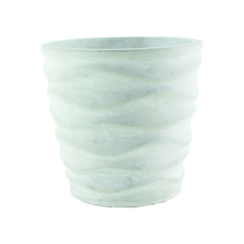 Urban Wave 6-3/4 in. Chalk Cement Planter