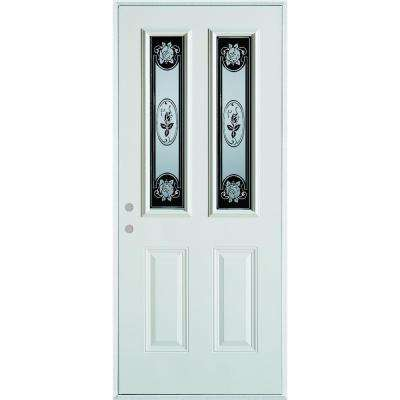 33.375 in. x 82.375 in. Silkscreened Glass 2 Lite 2-Panel Painted White Right-Hand Inswing Steel Prehung Front Door